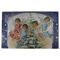 Tuck's Christmas Card 1907 Christmas Greetings Group of Angels