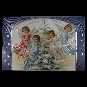 Tuck's Christmas Card 1907 Christmas Greetings Group of Angels