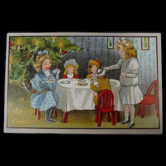 Vintage Christmas Postcard  Embossed Little Girls Tea Party