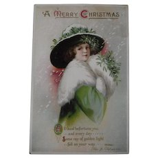 Clapsaddle Christmas Postcard Glamour Girl