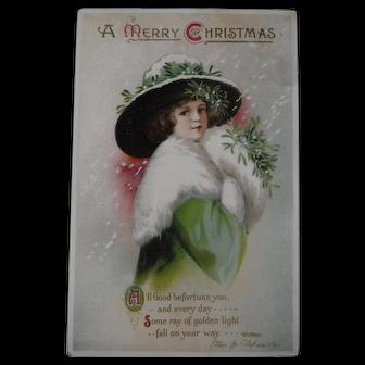 Clapsaddle Christmas Postcard Glamour Girl