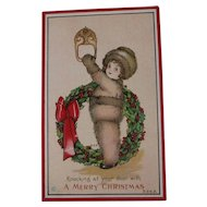 Vintage Christmas Postcard  Margaret Evans Price Little Girl Wreath Embossed