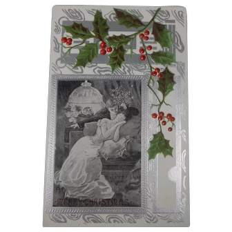 Vintage Christmas Postcard Embossed Young Couple Holly 1914