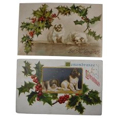 2 Antique Christmas Postcards with Dogs 1910 1911