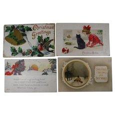 4 Christmas Postcards 1912 1915 Cat Bear Sheep Bird