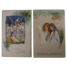 2 Antique Christmas Postcards with Angels 1908