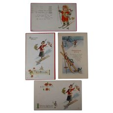 4 Christmas Postcards Skiers 1916 1925