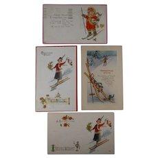 4 Christmas Postcards Skiers 1916 1925
