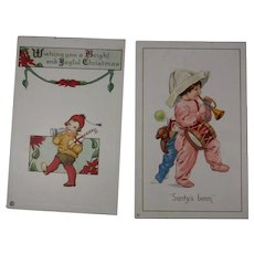 2 Christmas Postcards Children Blowing Horns 1919