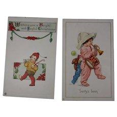 2 Christmas Postcards Children Blowing Horns 1919