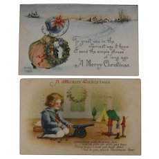2 Antique Christmas Postcards with Kids Cannon Wreath