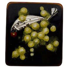 Allan Heywood Enamel Copper Brooch Pin Australia Ladybug Bird Flowering Wattle