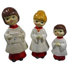 3 Vintage Christmas Choir Figures Japan