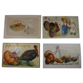 4 Embossed Thanksgiving Postcards Turkey Children 1908 1910