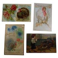 4 Embossed Thanksgiving Postcards Turkey Children 1908 1910 Lot #2