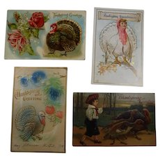 4 Embossed Thanksgiving Postcards Turkey Children 1908 1910 Lot #2