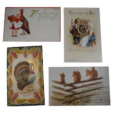 4 Embossed Thanksgiving Postcards Turkey Squirrels Children 1912