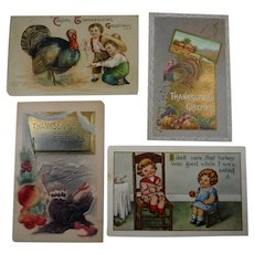 4 Embossed Thanksgiving Postcards Turkey Children 1912 Lot #2