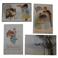 4 Embossed Thanksgiving Postcards Turkey Children 1908 1909