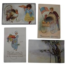 4 Embossed Thanksgiving Postcards Turkey Children 1908 1909