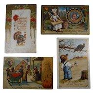 4 Embossed Thanksgiving Postcards Turkey Children 1911