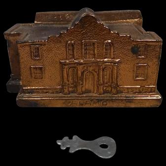 The Alamo Building Souvenir Money Bank Metal Copper Finish with Key