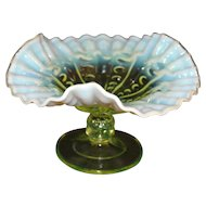 Dugan Glass Co. Topaz Opalescent  Glass Compote
