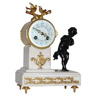 Antique French Bronze and Marble Figural Mantle Clock