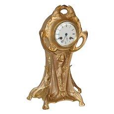 Art Nouveau Gilt Metal Mantel Clock  8 Day Time & Chime