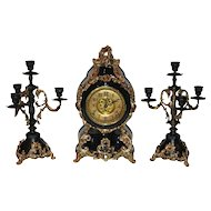 Antique F.Kroeber Clock Co. Black Enamel Mantel Clock & Two Candelabras