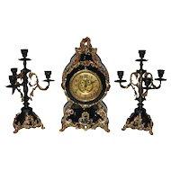 Antique F.Kroeber Clock Co. Black Enamel Mantel Clock & Two Candelabras