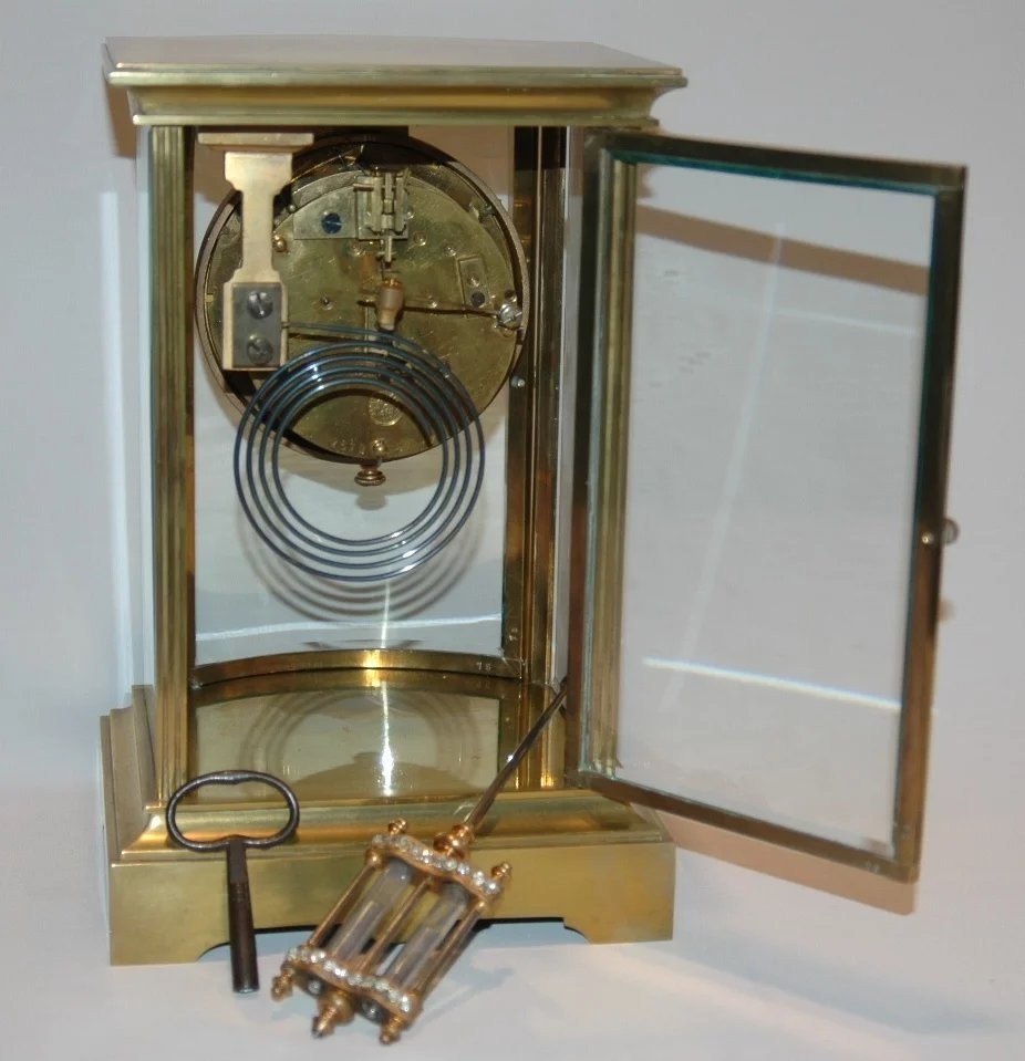 Antiques Collectibles: Antique French Brass And Glass Crystal Regulator Clock