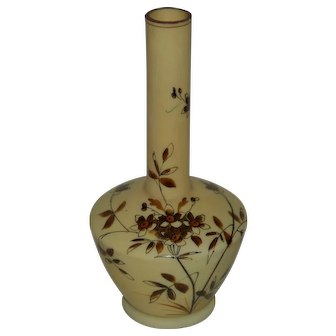 Slender Neck Glass Vase with Painted Flowers