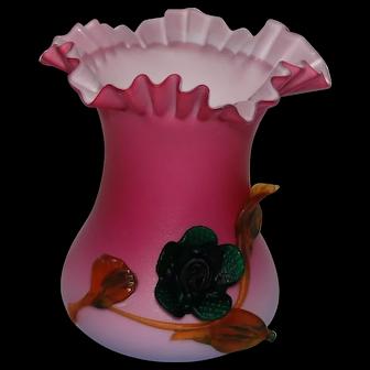 Art Glass Cased Vase Applied Flower