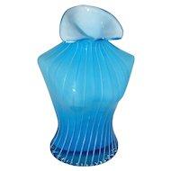 Art Glass Cased Blue White Woman Blouse Vase