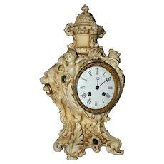 Antique French Porcelain Figural Mantel Clock