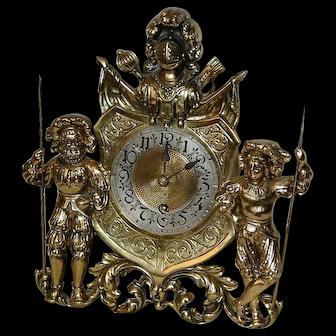 Antique German Brass Figural Mantel Clock