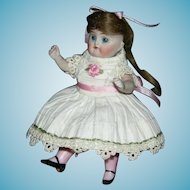 """All Bisque - J. D. KESTNER w/ PINK STOCKINGS - Mold #208 - Made in Germany - 4 1/2"""" - Sweet Clothes & Face!!"""