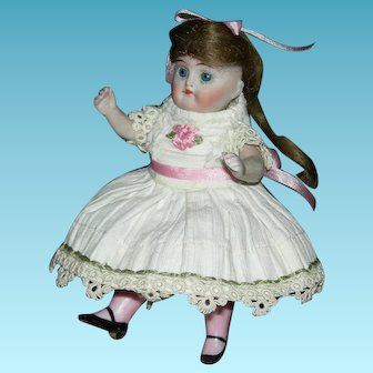 "All Bisque - J. D. KESTNER w/ PINK STOCKINGS - Mold #208 - Made in Germany - 4 1/2"" - Sweet Clothes & Face!!"