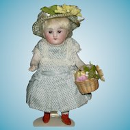 """ALL BISQUE - 4 1/2"""" - Sleep Eyes & Brown Molded boots - Cute Clothes w/ Hat & Basket!!!"""