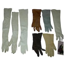 ANTIQUE KID GLOVES - For doll Bodies & Doll Repairs & Accessories - Make Shoes & Purses - 8 Gloves!!