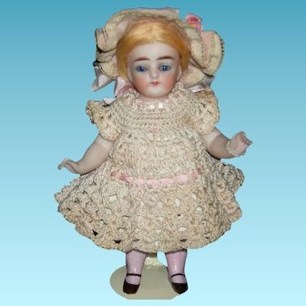 "BEAUTIFUL ALL BISQUE - 6"" - Almond Shaped Eyes - Pink Stockings - Blue Glass Eyes & Strawberry Blonde Wig!"