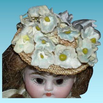 """TINY STRAW HAT w/ Flowers - Light Blue Grey Flowers & Grey Silk Bow - 1 3/4"""" Across"""