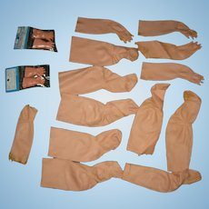 RUBBER ARMS & LEGS - Old - 2 Pair of Packaged Hands - For Doll Repairs - 15 Pieces!!
