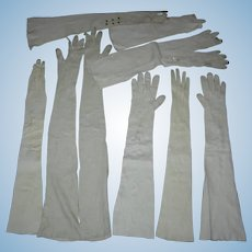 SUPER LONG BEIGE KID GLOVES - ANTIQUE - For Doll Bodies and Doll Repairs - 10 Gloves With Buttons & Snaps!!!