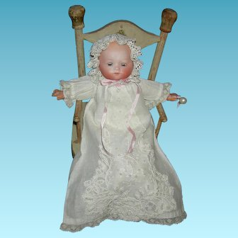"HERM STEINER BABY - 8"" - Bisque Head w/ Blue Sleep Eyes - Sweet Old Dress!"