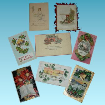 EIGHT (8) Antique CHRISTMAS POST CARDS - Green One Cent Stamps - 1906 - 1911 - 1912 - One w/ Red Feathers!!