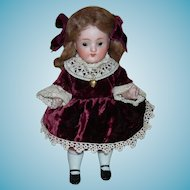 """""""PRINCESS"""" - 8"""" ALL BISQUE - #257 20 - Perfect Paper Label - Made in Germany - Velvet Dress & Gold Locket"""