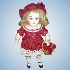 """CUTE 5 1/2"""" ALL BISQUE - Brown Sleep Eyes - Red Knit Dress & Panties - Straw Basket w/ Flowers!!"""