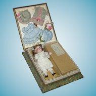 """BABY ROSE"" - ALL BISQUE #208 KESTNER - Original Box & Chest Label - Silk Presentation Box 8"" x 6 1/2"""